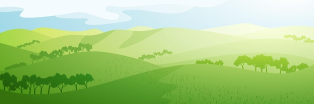 Panoramic view of green hills on sunny morning
