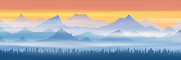 Panoramic view of mountain ranges in morning fog