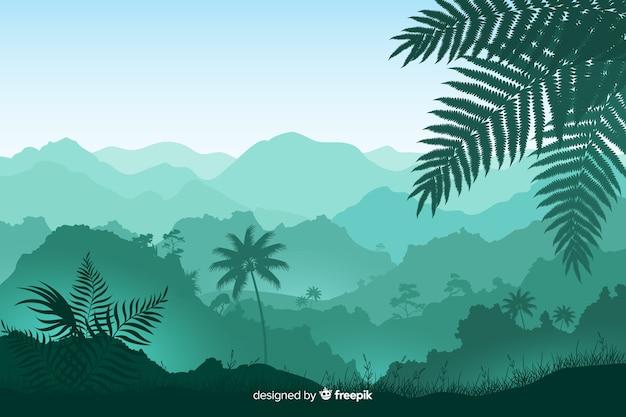 葉と熱帯林の木のパノラマビュー