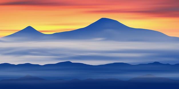 Панорамный вид на гору арарат на рассвете