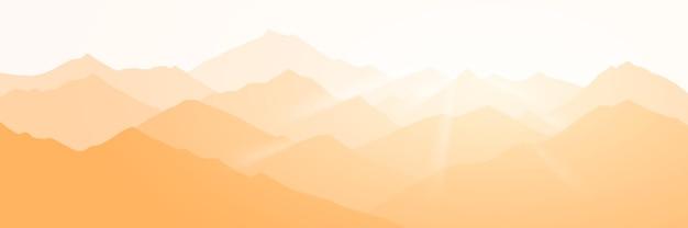 Панорамный вид на горный пейзаж в утреннем свете