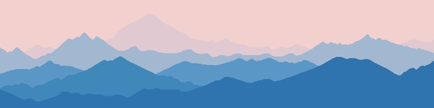朝の霞の山脈のパノラマビュー Premiumベクター