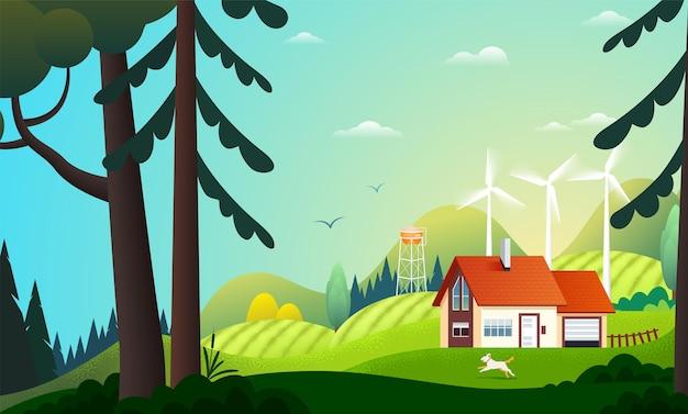 Панорамный вид на загородный дом в летнем лесу с ветряными турбинами.