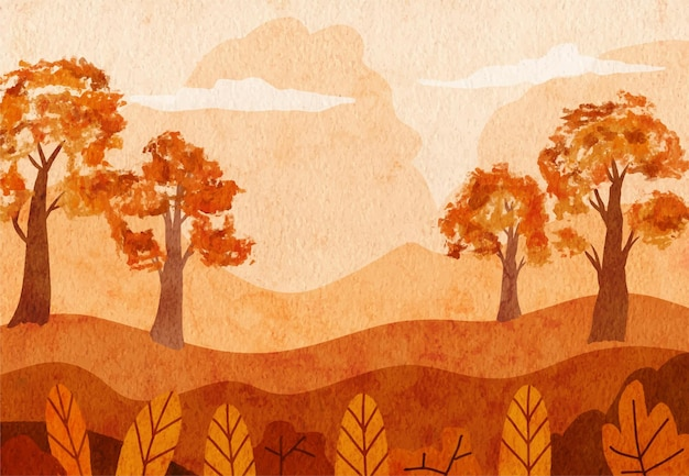 Panoramic view of the village in autumn with hand painted watercolor landscapes background