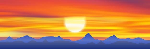 산에서 석양을 바라 보는 파노라마 뷰