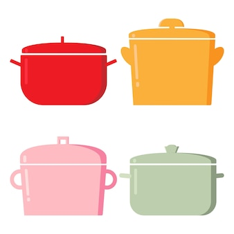 鍋。台所用品アイテム、料理用の漫画のキッチンツールのコレクション、白い背景で隔離の料理と揚げ物の要素のベクトルイラスト。