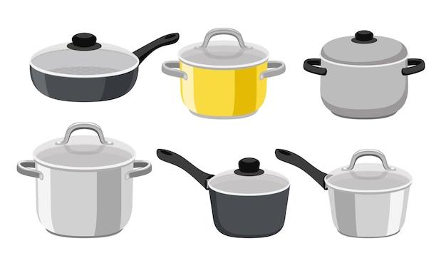 Сковороды, кастрюли и кастрюли. предметы кухонной сковороды, коллекция мультяшных кухонных инструментов для приготовления пищи, векторная иллюстрация элементов для варки и жарки, изолированные на белом фоне