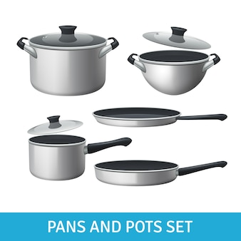 Pans and pots realistic set with frying pan saucepan and bowl