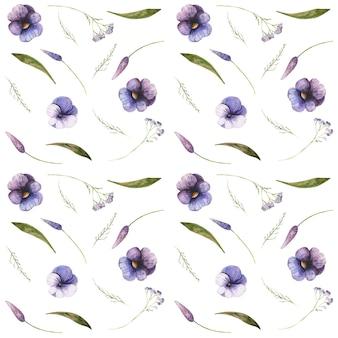 팬지와 톱풀 원활한 패턴 꽃 봉오리 꽃잎과 잎 보라색 제비꽃