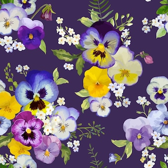 Анютины глазки цветы бесшовный цветочный узор