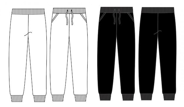 Pant fashion flat sketch template