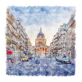 Pantheon paris france watercolor sketch hand drawn illustration