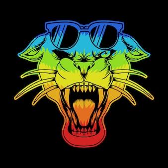 Panther eyeglasses colorful illustration
