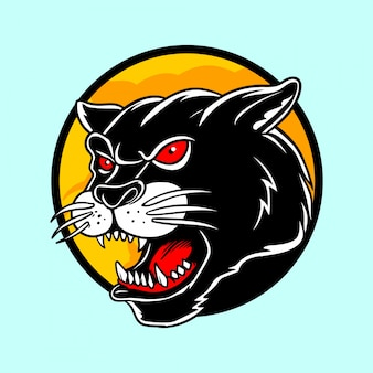 Panther head illustration in hand drawn