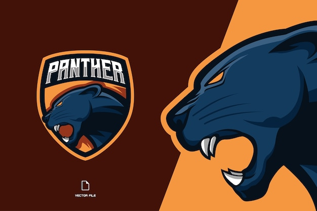 Panther head mascot esport logo for sport team template illustration