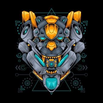 Робот-робот с головой пантеры со сакральной геометрией