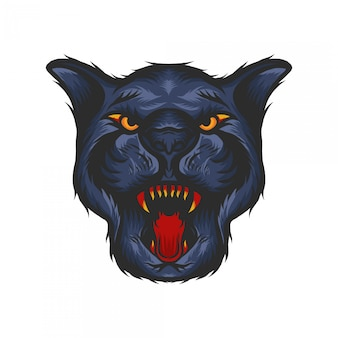 Panther head with hand drawn illustration