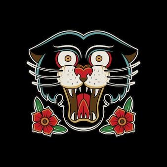 Panther roses vintage tattoo retro