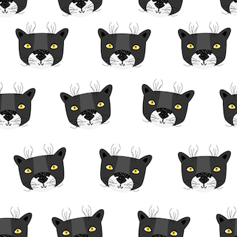 Panther. vector seamless pattern scandinavian style