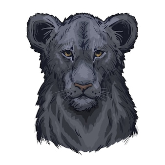 Пантера лев, портрет экзотического животного изолированного эскиза. рисованной иллюстрации.