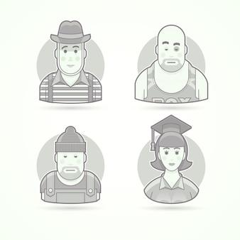 무언극 연기자, 복서, 노동자, 대학원 여성. 캐릭터, 아바타 및 사람 삽화의 집합입니다. 흑백 윤곽선 스타일.