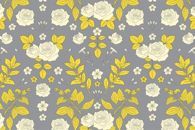 Pantone 2021 hand drawn floral background