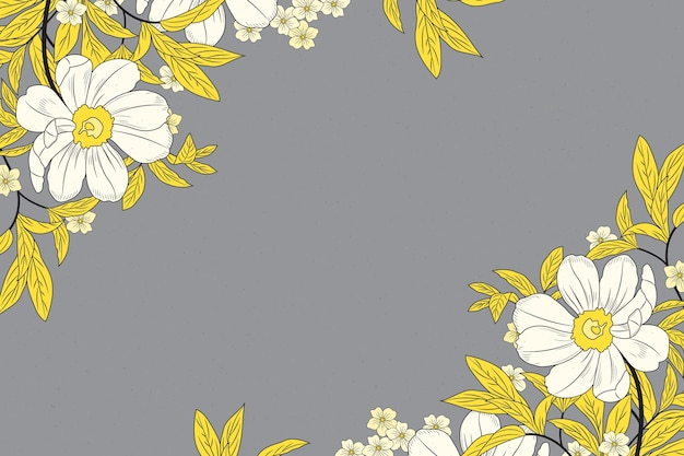Pantone 2021 hand drawn floral background