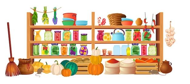 음식이 있는 식료품 저장실은 흰색 배경에 있는 선반에 보관되어 있습니다. 벡터 만화 인테리어