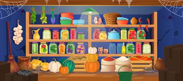 선반에 식품 보존 식품이 있는 식료품 저장실