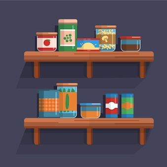 Pantry illustration with shelf