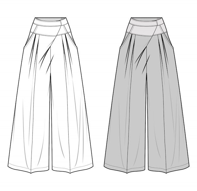 Pants fashion flat sketch template