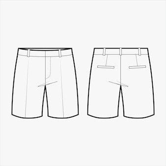 Pants fashion flat sketch template