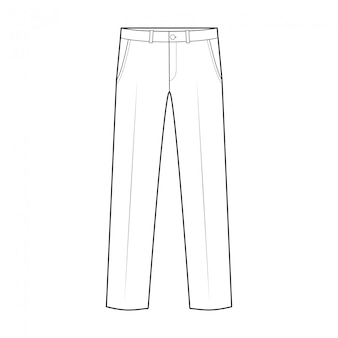 Pants fashion flat technical drawing template
