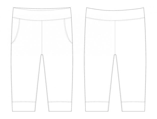 Pants flat illustration. trousers sketch baby clothes.