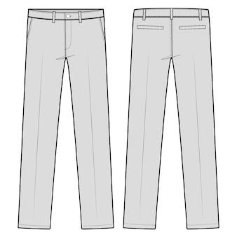 Pants formal trousers fashion flat sketch template