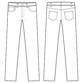 Pants jeans fashion flat sketch template