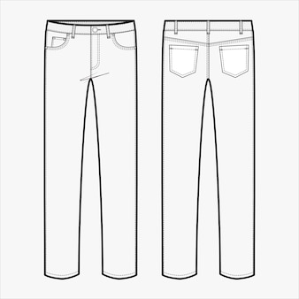 Pants jeansファッションフラットスケッチテンプレート