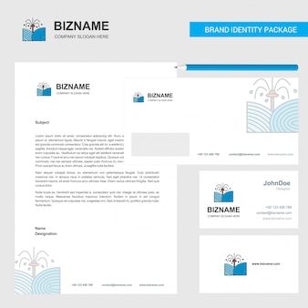 Pants shower  business letterhead, envelope and visiting card   template