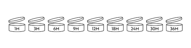 Pao 벡터 아이콘 세트입니다. 기호를 연 후의 기간. 개월 단위의 만료 기간이 있는 오픈 캡이 있는 캔.