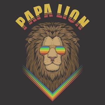 Папа лев с очками