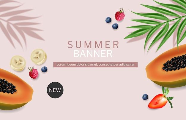 Папайя и ягоды летний экзотический баннер вектор реалистично. шаблон дизайна баннера тропические фоны