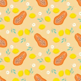 パパイヤとレモンのシームレスパターン