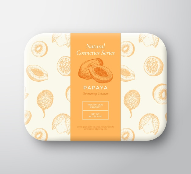 Papaya bath cosmetics package box abstract vector wrapped paper container with label cover packaging...