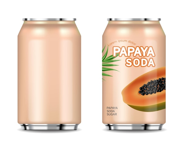Papaya canned juice isolated vector realistic product placement package fresh natural juice
