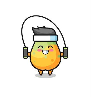 밧줄을 건너뛰는 파파야 캐릭터 만화, 티셔츠, 스티커, 로고 요소를 위한 귀여운 스타일 디자인