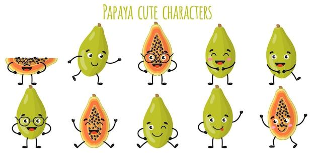 Плоды папайи милые веселые веселые персонажи с разными позами и эмоциями
