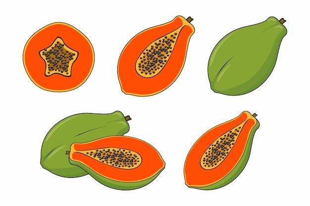 Набор фруктов папайи, изолированные на белом фоне