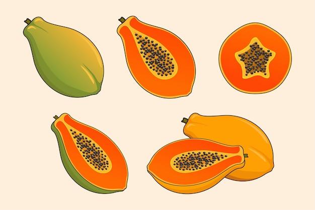 Papaya fruit set