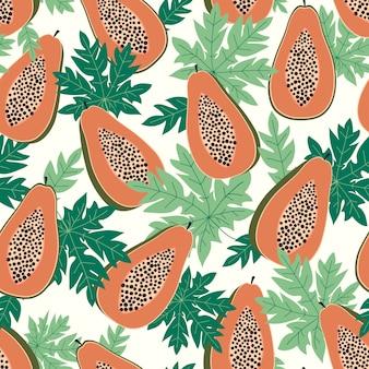Бесшовный узор из папайи с листьями