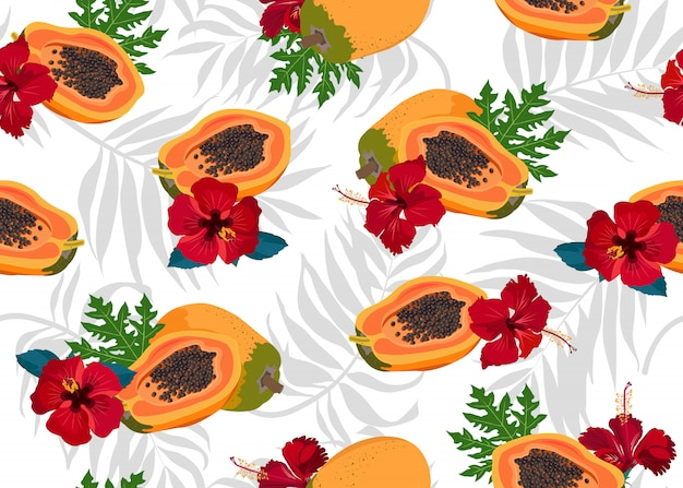 Papaya fruits seamless pattern